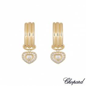 Chopard Yellow Gold Happy Diamonds Heart Hoop Earrings